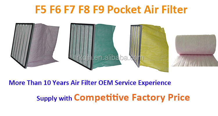 HVAC System Medium Efficiency 6 Pockets Bag Air Filter F6