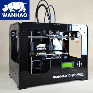 3d printer kits wanhao Duplicator 4S, black case grand look build 3d printer in machine two nozzle colors,large size 3d printer