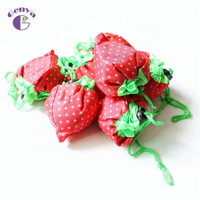 Genya custom LOGO Cheap Strawberry shopping Bag fruit shaped folding reusable bag in different colors