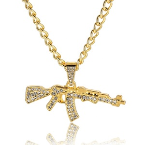 Fashion Cool AK47 Men Gun Pendant Necklace Jewelry Bling Bling for Men Hiphop Gold Necklace