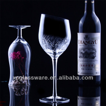 Unique Shaped Cheap Slanted Crackle Wine Glass Buy Cheap