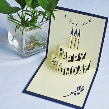 Meilun Art Craft 3D Happy Birthday Cake Pop Up Card