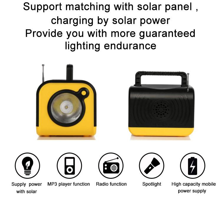 Açık güneş USB2.0 şarj kiti sistemi ile ampul cep telefonu için FM radyo MP3