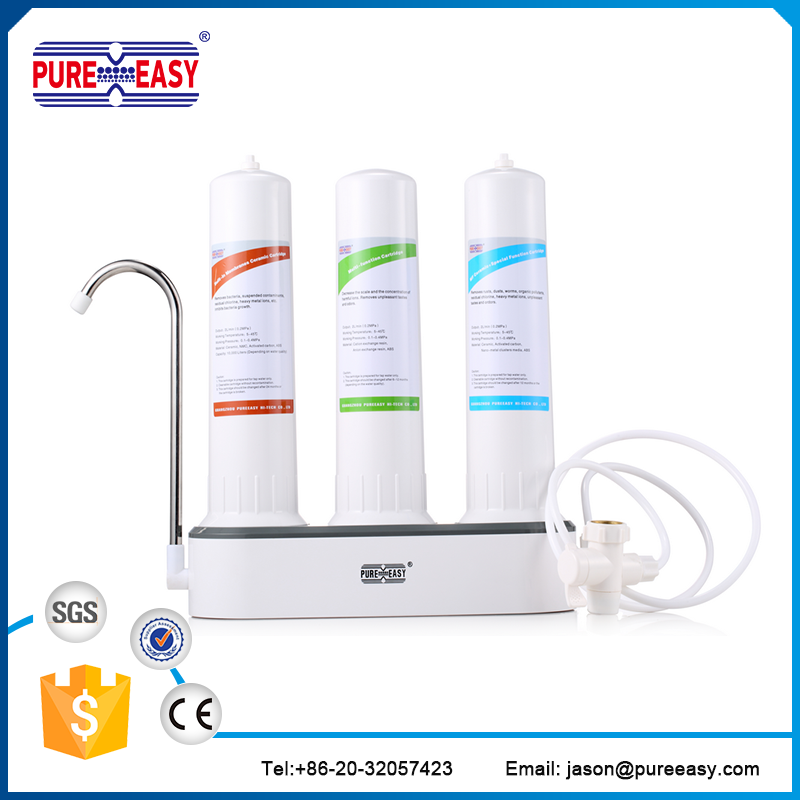 household countertop water filter for removing chlorine bacteria hardness, heavy ions, bad odor....