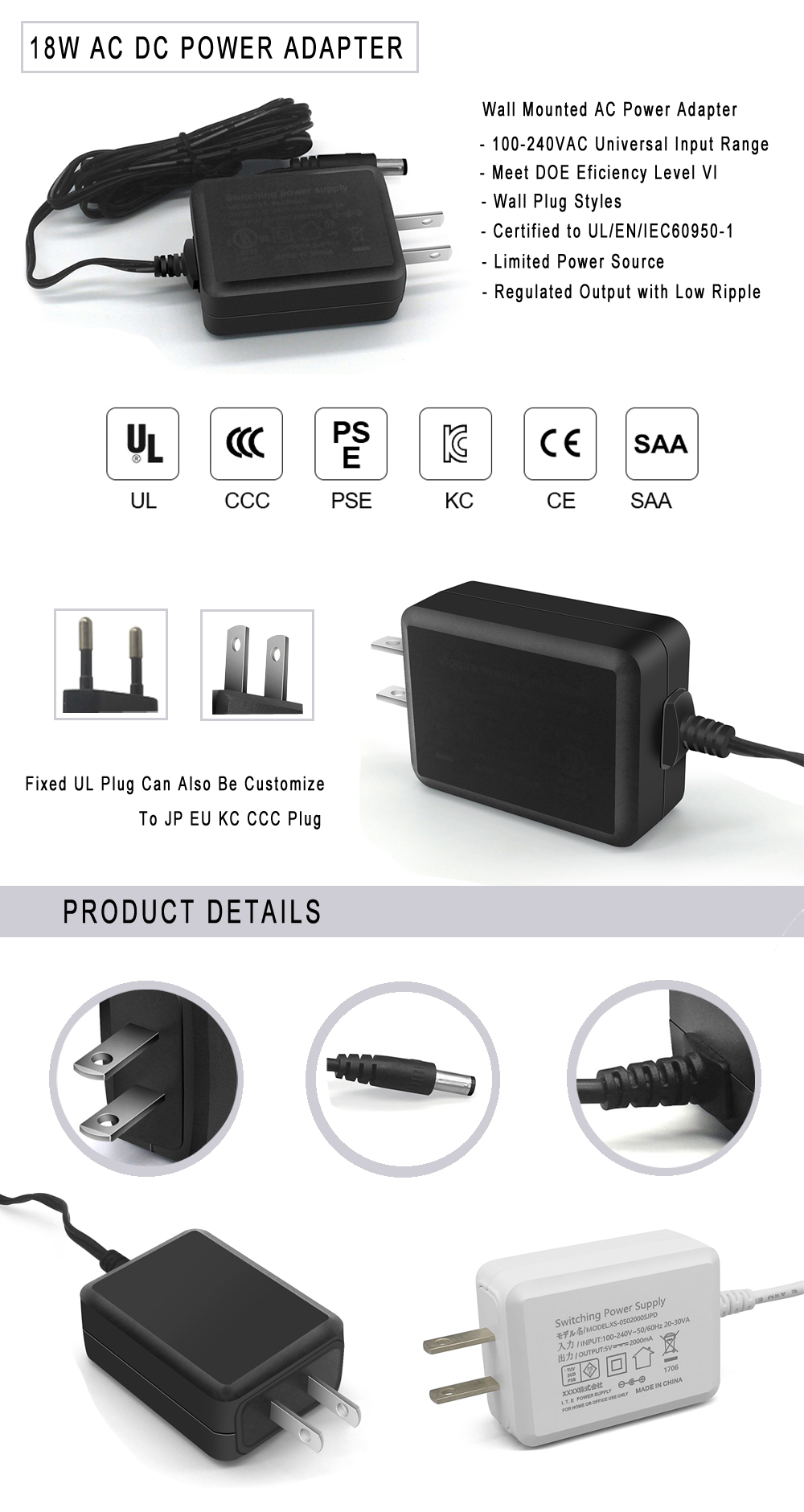 Input 100 240 V ac 50/60 hz switching power supply 5 v 12 v 24 v 0.5a 1a 1.5a 2a 2.5a 3a set top box ac dc power adapter
