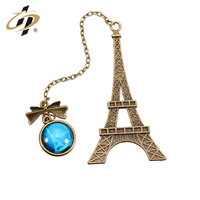 Hot selling products wholesale antique brass Eiffel Tower custom bookmark with pendant