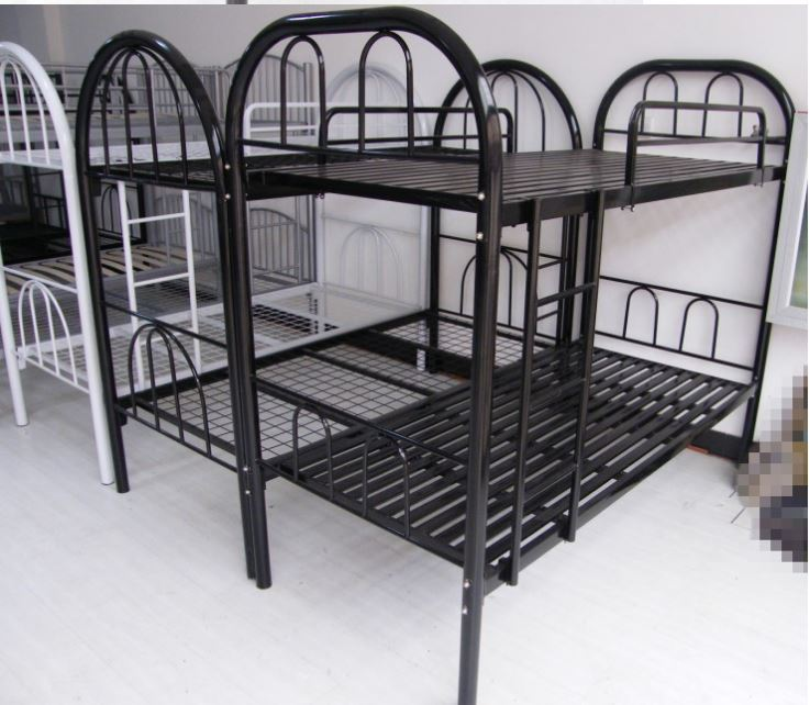 Hot Sale Powder Coated Black Steel Pipe Adult Military Bunk Bed For