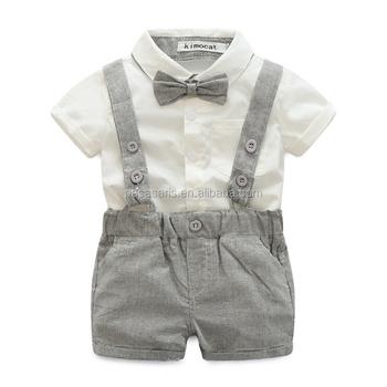 Babykleding Jongen.Al2106i Gentleman Jongen Pak Strikje Shirt Korte Overalls Sets