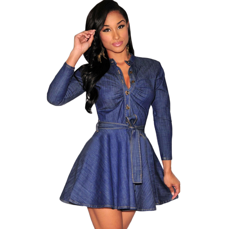 68b8ae6b99 Vintage Sexy Deep V Women Denim Dress 2015 Fashion Plus Size Waist Slim  A-line