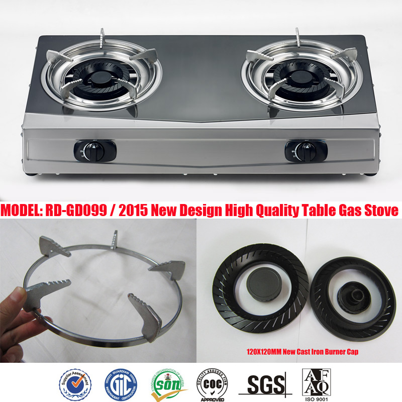 double burner Stainless steel gas stove table top oven (RD-GD099)