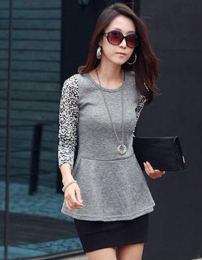 New Design Fashion Ladies Tops Korean Spring/autumn Lace Long ...