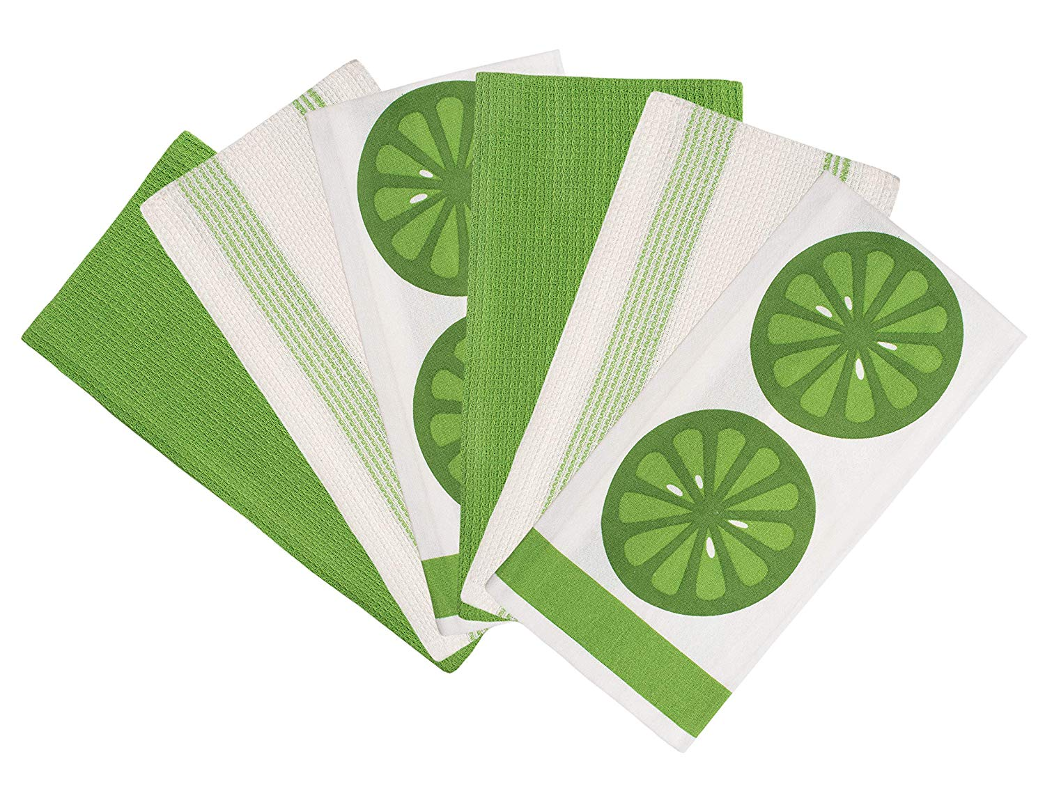 Glamburg Overzised Kitchen Towels - Dish Cloth - (6 Pack) Machine Washable 100% Cotton Kitchen Dishcloths, Dish Towel & Tea Towels, Printed - Solid and Stripe Set, 20x27 Inch - Multi Purpose - Green