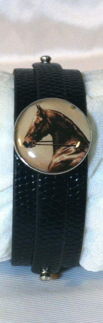 Leather SNAP BRACELET with HORSE SNAP Elegant Horse Head 3 color choices SOME WITH BUBBLES!