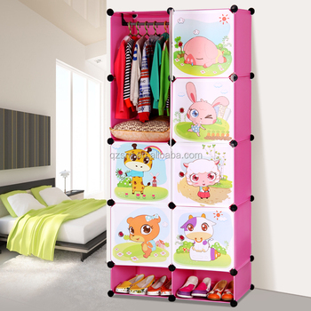 Ethiopian Bedroom Furniture Kids Folding Cupboard Plastic Storage Assemble Portable Wardrobe Closet
