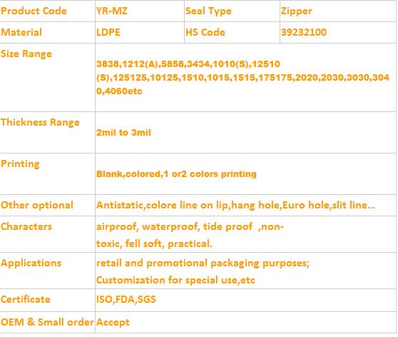 """100 Zipper Baggies 125125 2MIL 1.25/"""" x 1.25/"""" Apple Brand Ziplock Zip Lock"""