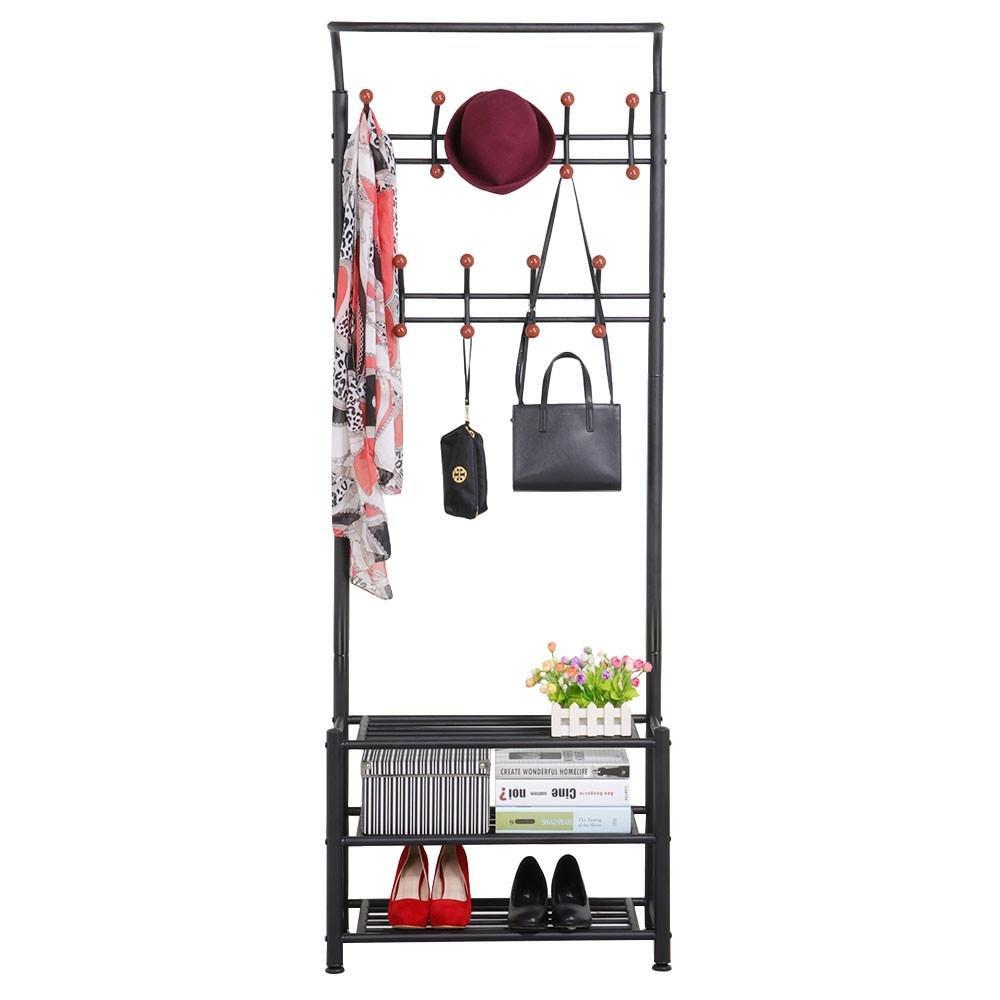Topeakmart Metal Entryway Storage 3-tier Shoe Bench with Coat Hat Umbrella Rack Shelves 18 Hooks Black