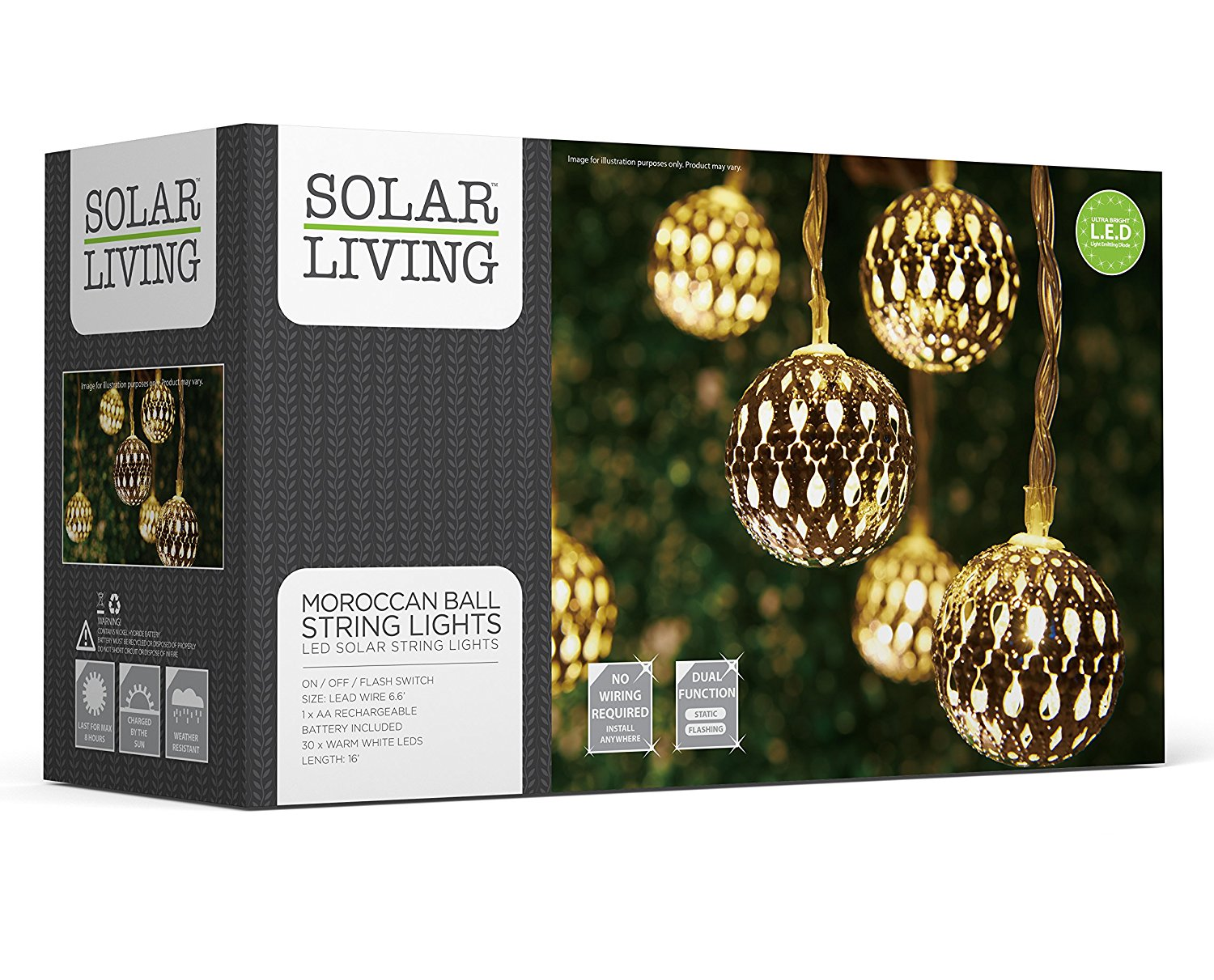 get quotations solar living solar moroccan ball string lights 30 leds total extra long length ambient