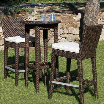 Rattan Furniture Outdoor Bistro Set Rattan Bar Stool High Chairs And Table Ou