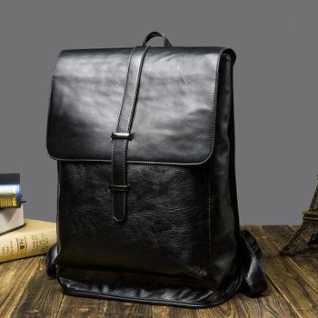 High Quality Japan Simple Leather Backpack laptop men Designer School Bags  Popular stylish fashion Luxury Vintage da649b3b81ea9