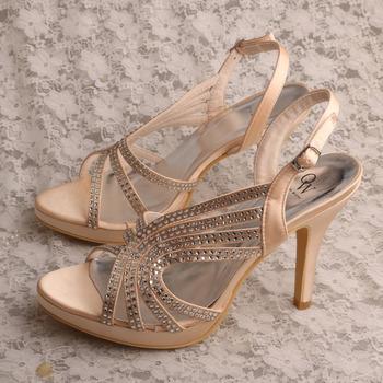 c4c6b84f8793 Champagne Rhinestone Gladiator Sandals Women High Heels - Buy ...