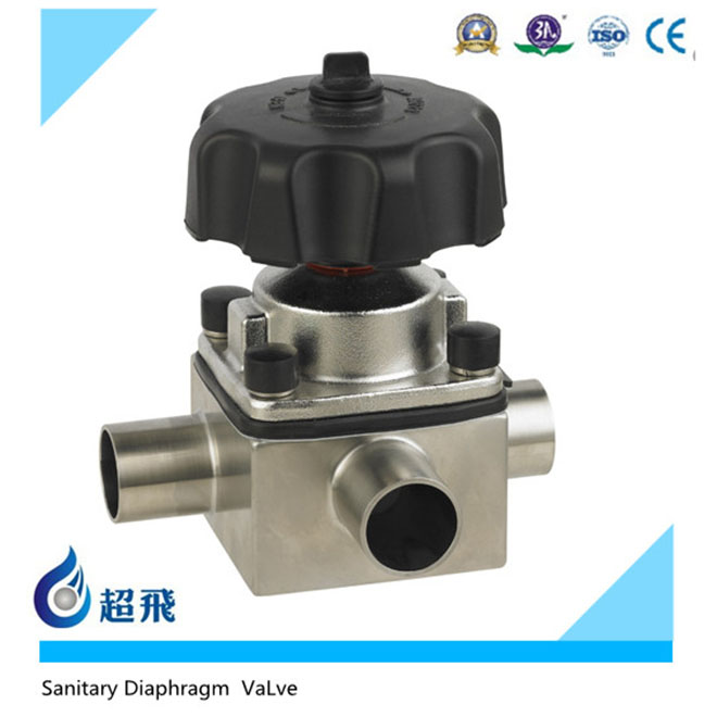 SS316L Sanitary Stainless Steel Valve Weld Three Way Valve Manual Diaphragm Valve Sterile Food Grade Wine Beer Milk Beverages