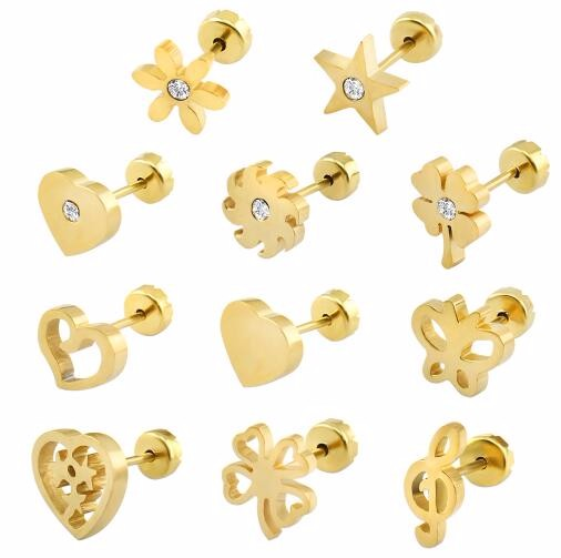 Gold Plated Stud Earrings Baby Style Surgical Steel Kid Ear Studs