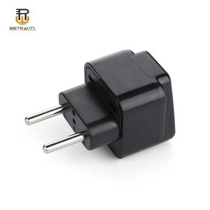 Black 2 in 1 European 2 pin round pin plug to US UK AUS 220v to 110v travel adapter