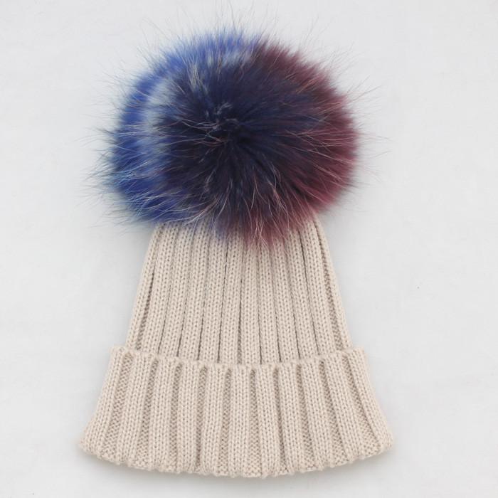18 Cm Big Raccoon Fur Pompo Cc Beanie Crochet Hat