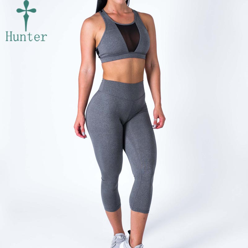 Hot Selling Grey Discount Sports Apparel Compression Gym Workout Outfits