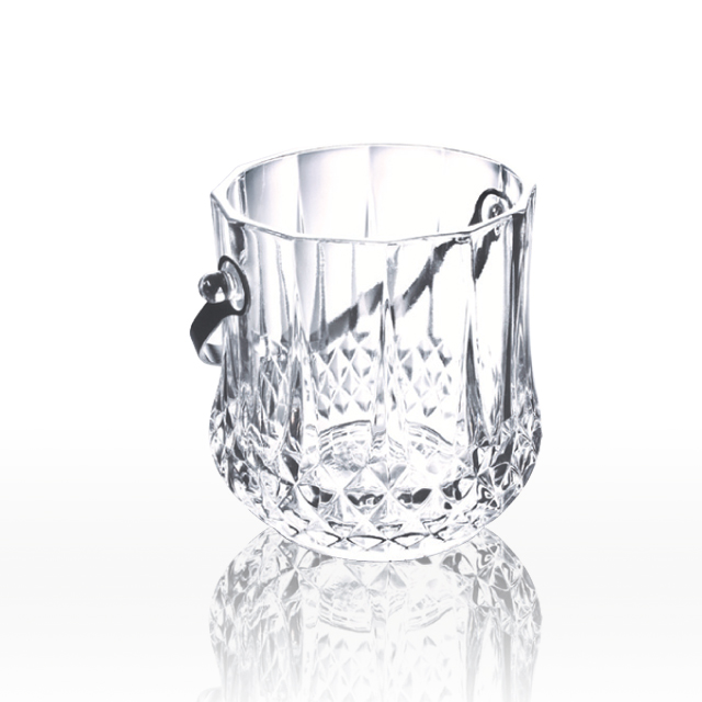 Embossed pattern clear glass ice bucket china