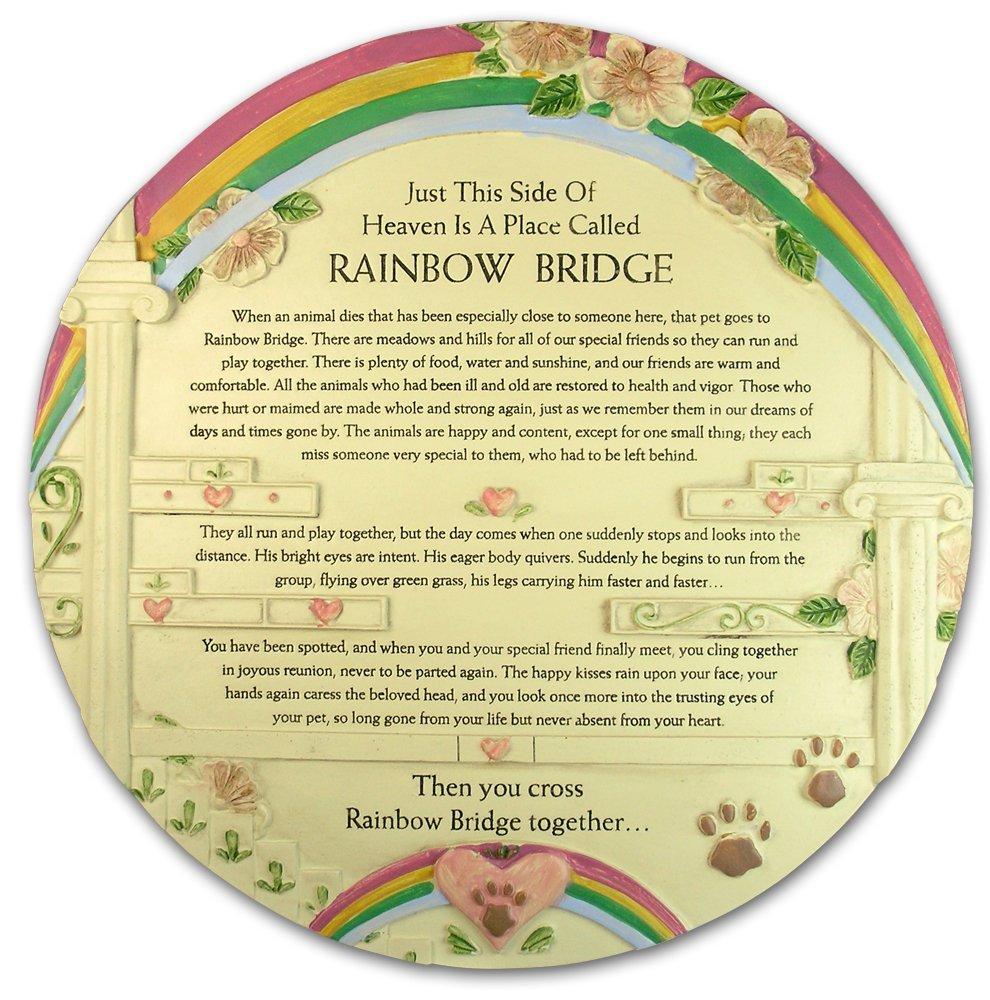Banberry Designs Rainbow Bridge Pet Memorial Stone - Beautiful Rainbow Bridge Poem on This Colorful Pet Memorial Garden Plaque - In Memory of Pet - Pet Sympathy Gift