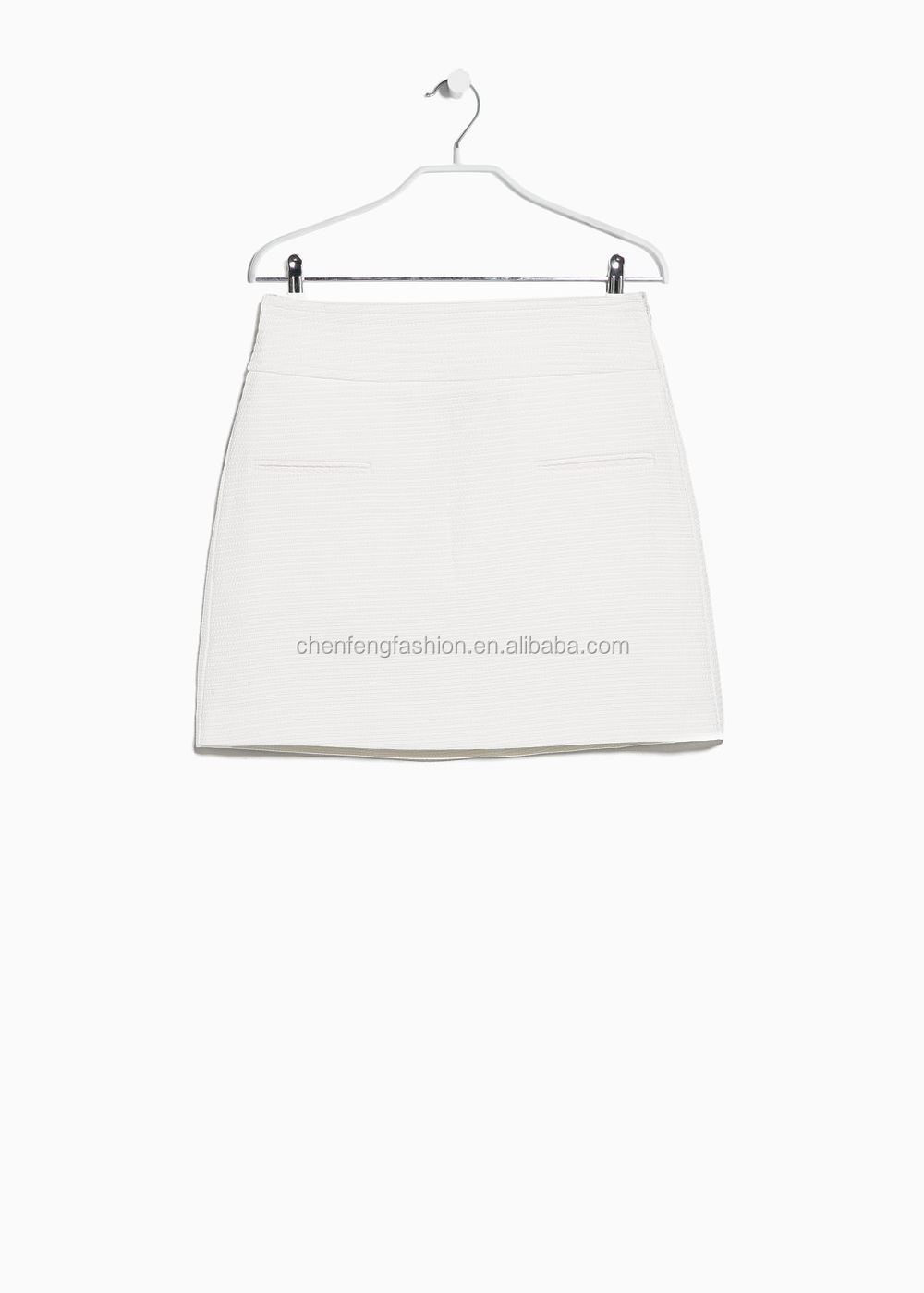 Textured Plain Short Skirts Models White A-line Skirt - Buy Short ...