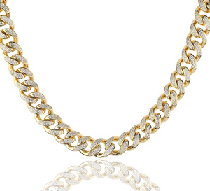 Jewelry Men 18k Gold PVD Plated Gold Diamond Necklace, hip hop Cuban Link Chain Design