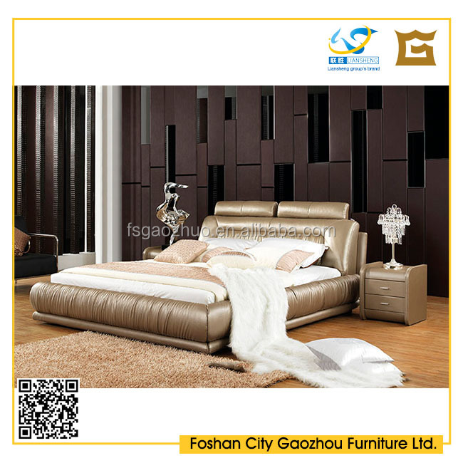 Elegant style king size leather bed with high headboard