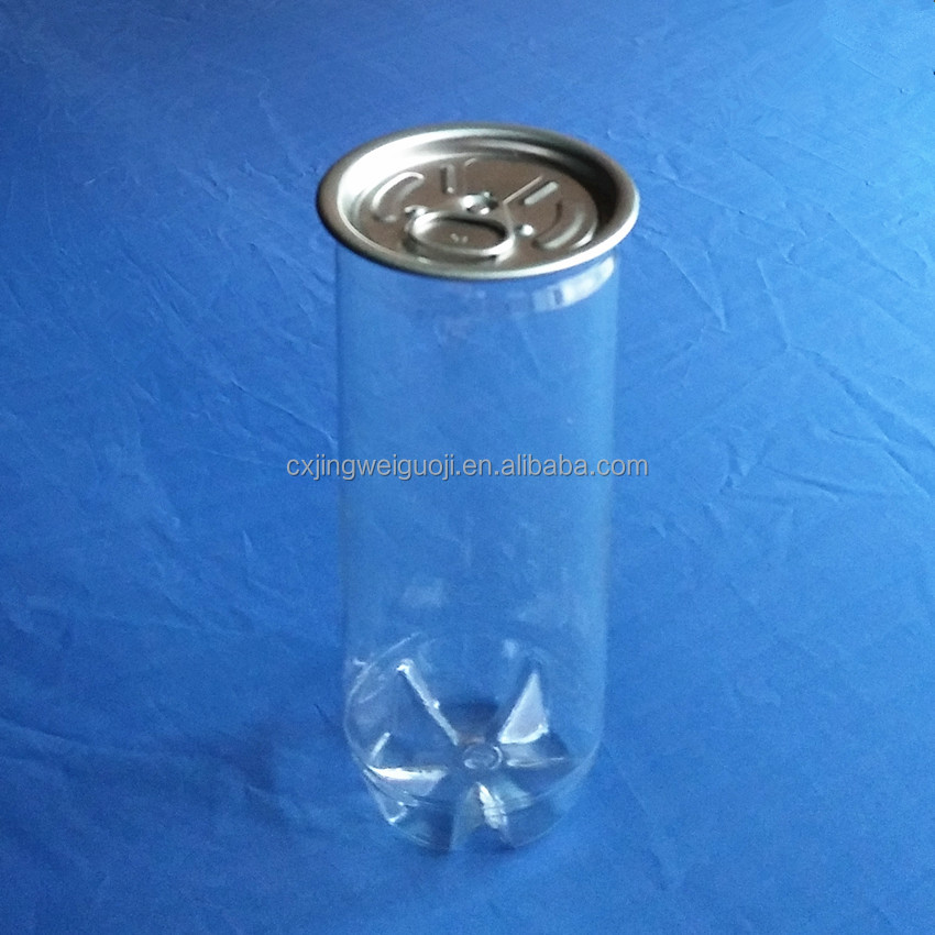 slim 250ml transparent pet plastic soda can