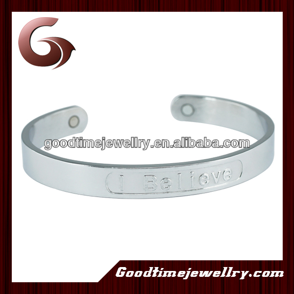 2014 I believe magnetic unisex bangles with 2 pcs of magnets in silver color fashion design and shinny design