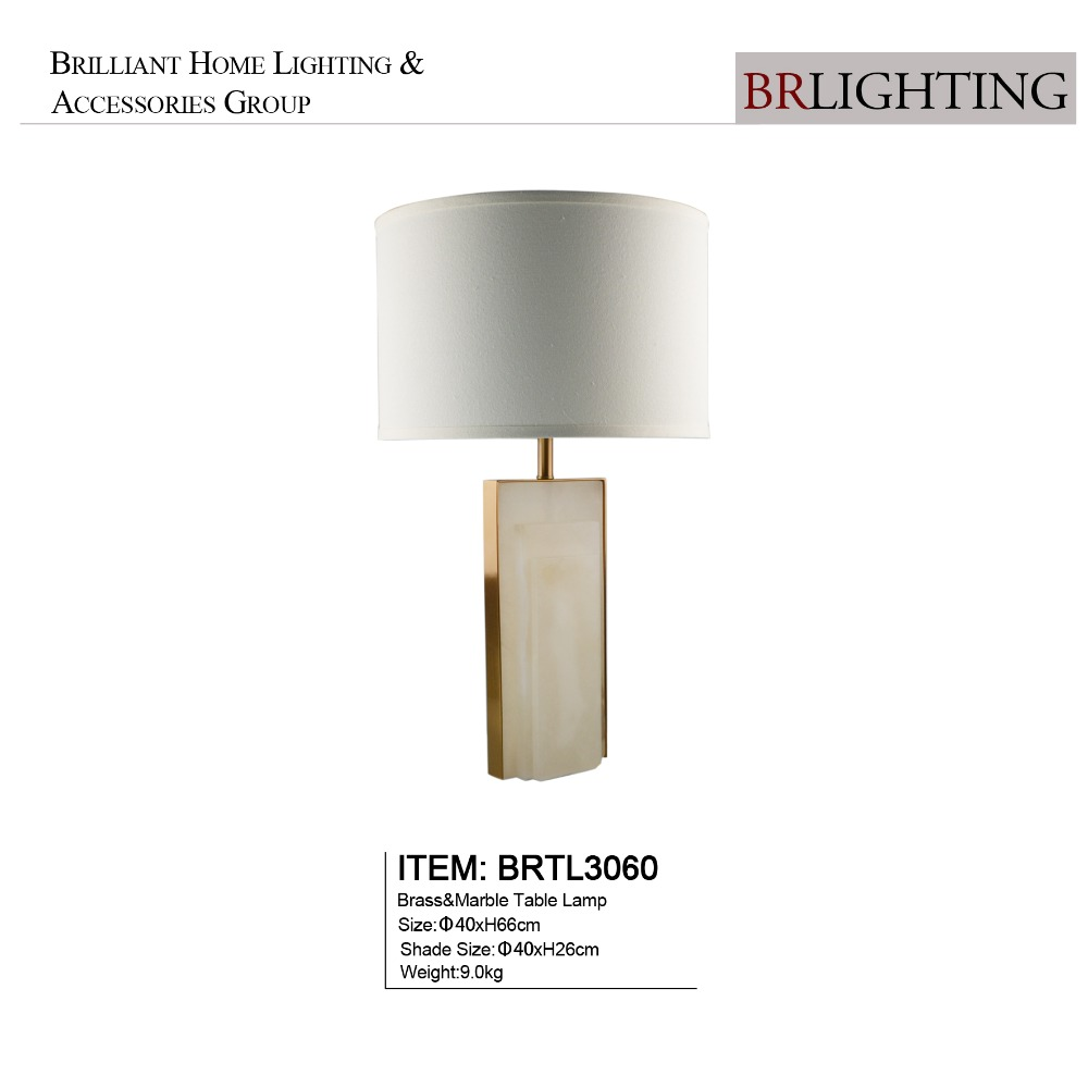 Unique simple style brass alabaster marble table lamp for home decoration