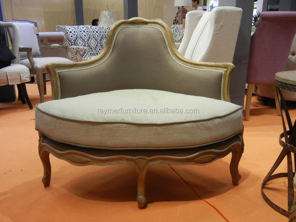 New design unique one seat oak wooden corner sofa