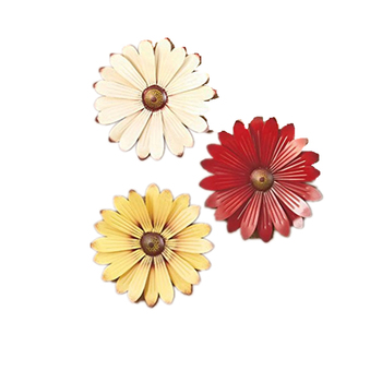 Set of 3 Metal Cream Red Yellow Metal Flower Wall Art Decor