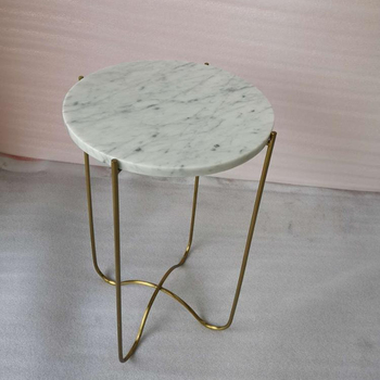 Home furniture gold finishnatural cararra white marble top round side table end table with X-base