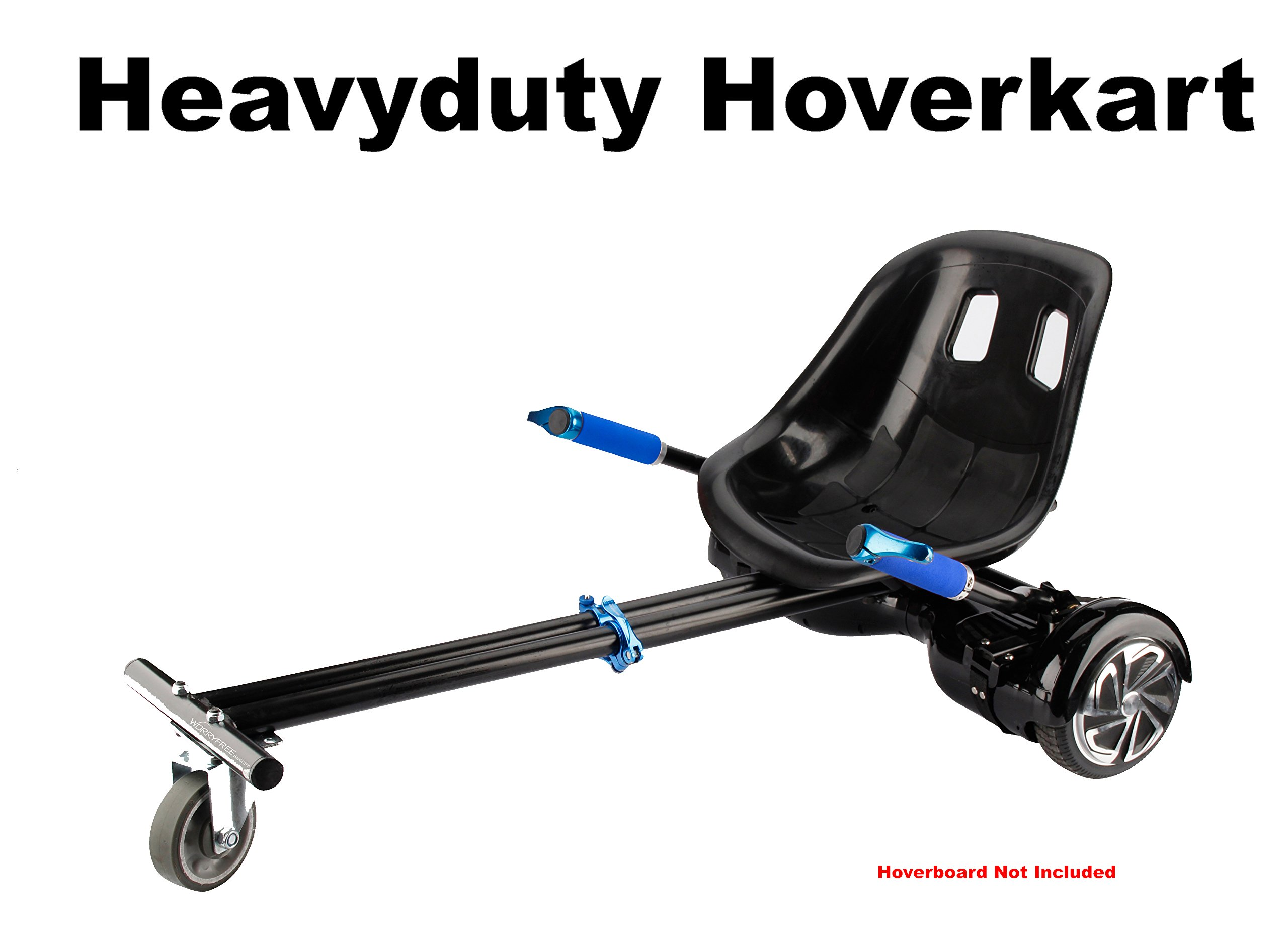 "Heavy Duty Hoverkart Attachment Extra Large extendable length for all size Hoverboards 6.5"", 8"" and 10"" transform Hoverboard into Go-Kart, for Kid to Adult Heavy Duty Frame (Blue)"