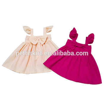 d90eb99eb3df4 Summer Soft Newborn Baby Clothes Infant Plain Color Dress Ruffle Sleeve  Design Girls Party Dresses With
