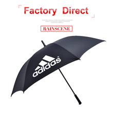 High quality double fiberglass ribs straight advertising promotional golf umbrella