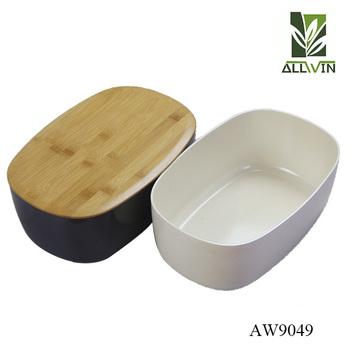 Newest Design Bamboo Fiber Bread Box Bin With Cutting Board Lid