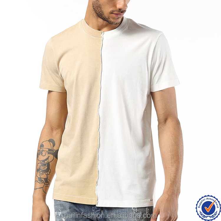 Dongguan clothing high quality best price two-tone panels men's crew neck raw-edged seam custom t-shirt