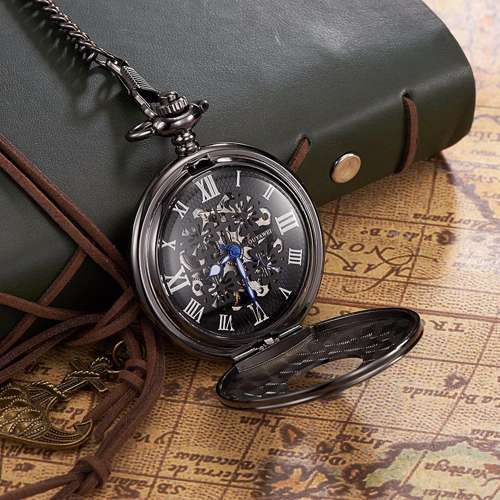 374760ac6 Fashion Retro Vintage Old Pocket Watch Necklace Chain Pendant Black Antique  Steampunk Mens Pocket Watches Relogio De Bolso