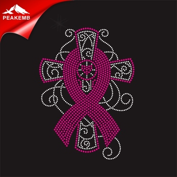 Wholesale Cross ribbon Cancer Awareness Rhinestone Transfer