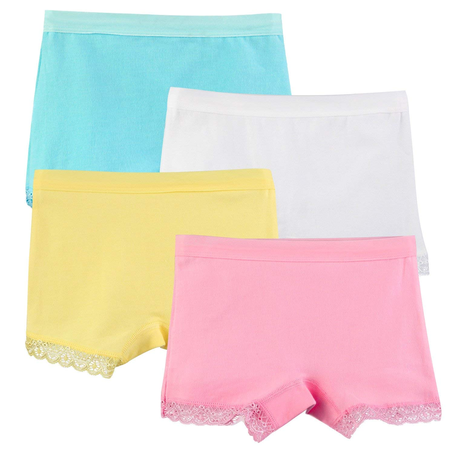 73be52ab704 Get Quotations · BOOPH 4 Pack Girls Underwear Toddler Panties Cotton Lace  Trim Colorful Boyshort Hipster for Little Girl