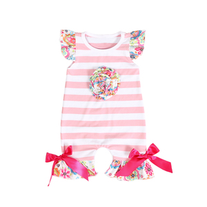 boutique kids summer romper stripe print flutter sleeve baby romper jumpsuit for baby girls