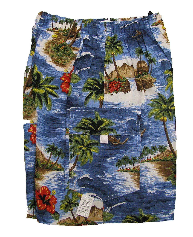 72720e5a87 Get Quotations · Red Hibiscus Island Boy's Elastic Waist Flap Pocket Cargo  Hawaiian Shorts
